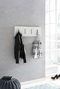 Garderobenpaneel quer mit 4 Klapphaken - Melamin Dekor Weiß