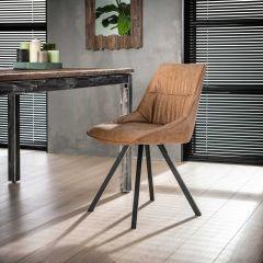Stuhl falten vier Fuß - Set von 4 - Wax PU cowhide Braun