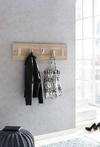 Garderobenpaneel quer mit 5 Klapphaken - Beton Melamin Dekor