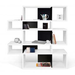 Bücherschrank Lissabon 2 - weiß/schwarz