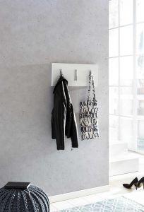Garderobenpaneel quer mit 3 Klapphaken - Melamin Dekor Weiß