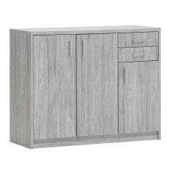 Kommode Spacio 3 Türen & 2 Schubladen H 84cm - Eiche grau