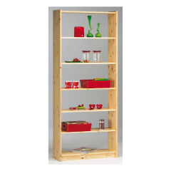 Bookcase AXEL 146/19 - Bookcase with 5 shelves - NATURAL LACQUER
