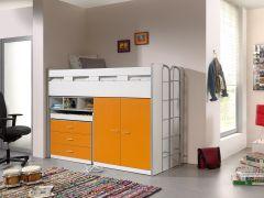 Halbhöhenschläfer Bonny 70 mit Schreibtisch, Schublade und Kleiderschrank - orange