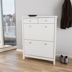 Shoe cabinet TROMSÖ 388 - Shoe storage cabinet with 2+2 drawers - WHITE