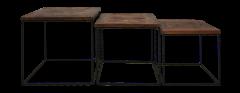 Austin Couchtischset - recyceltes Java-Holz / Eisen - 3er-Set