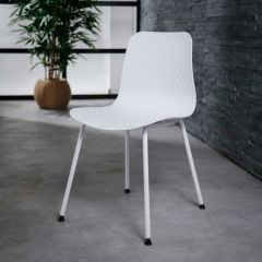 Stuhl PP pulverbeschichtetes Gestell - Set von 4 - Weiss