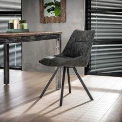 Stuhl falten vier Fuß - Set von 4 - Wax PU Schwarz