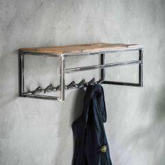 Garderobe grained 7 Haken mit Stange und Hutablage - Robustes Hartholz