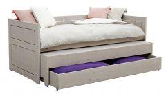 Kabinenbett mit Ersatzbett und Bettkasten - grau