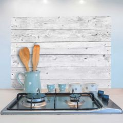 Wandaufkleber Grau Holz Rückwand Küche