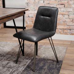 Stuhl V-Rahmen - Set von 4 - Saddle PU Schwarz