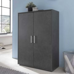 Serie Maxi-Office, Schrank breit mit 2 Türen, 110,5 cm hoch - Graphit Dekor