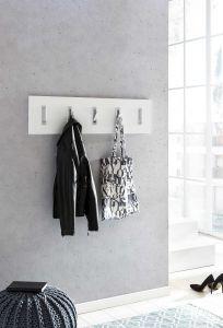 Garderobenpaneel quer mit 5 Klapphaken - Melamin Dekor Weiß