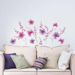 Wandaufkleber Lila Blumen XL