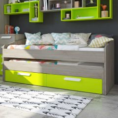 BO12 Trundle bed 2 drawers 200cm Green color