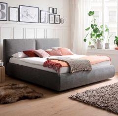 Gestoffeerd bed Atesio incl. bedbodem, incl. matras - 180x200 cm - antraciet