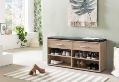 Schuhregal mit 4 Fächern, 2 Schubladen und Sitzkissen - Melamin Sonoma Eiche Dekor
