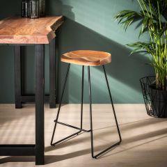 Bar Stuhl Holzsitz - Set von 4 - Massiv acacia naturel