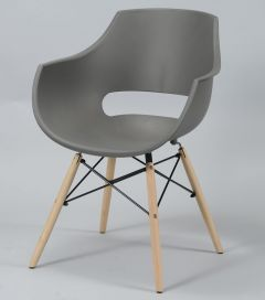 Esszimmerstuhl aus Polypropylen mit Holzbeinen und Spinnenrahmen Armlehnen und halboffenem Rücken - Set von 4 - Grau