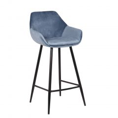 Barhocker 'Damaskus' Samt Blau (H-Sitz 75cm) - 2er Set