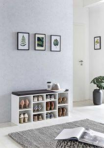 Schuhregal mit 10 Fächern und Sitzauflage - Korpus Weiß Melamin Dekor