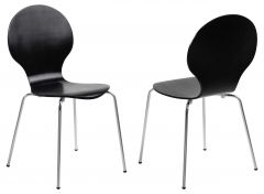 Marcus Dining chair - black, chrome - set of 4