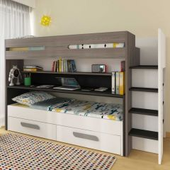 BO10 Bunk bed with desk Graphite color