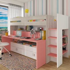 BO10 Bunk bed with desk Cascina/Flamingo Pink