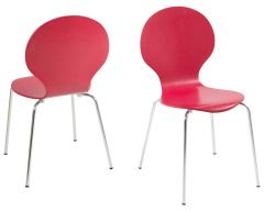 Marcus Dining chair - dark red, chrome - set of 4