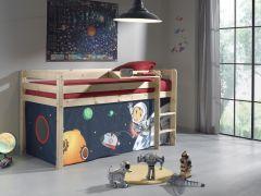 Halbhochbett Charlotte natur mit Spielzelt Weltraum
