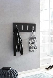 Garderobenpaneel quer mit 4 Klapphaken - Melamin Dekor Graphit