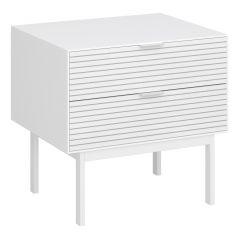 Nightstand SOMA 002 - Nightstand with 2 drawers - WHITE/WHITE
