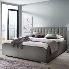 Gestoffeerd bed La Finca - 140x200 cm - Lichtgrijs