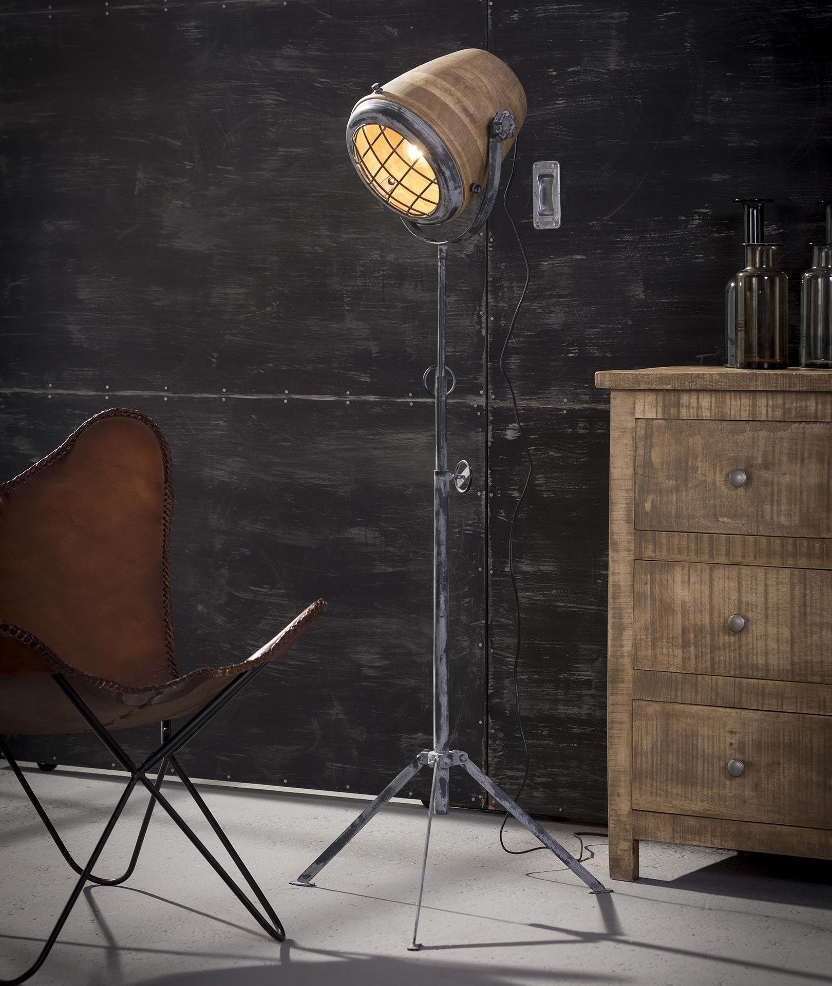 Stehlampe Eisen Holz Lampenschirm Xl Massiv Mango Naturel Emob
