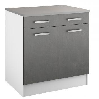 Unterschrank Eli mit 2 Schubladen und 2 Türen - Beton