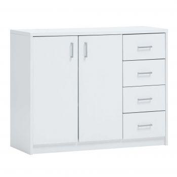 Kommode Spacio 2 Türen & 4 Schubladen H 84cm - weiß