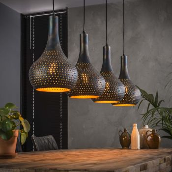 Hängeleuchte Cone 4 Lampenschirme - schwarz/braun
