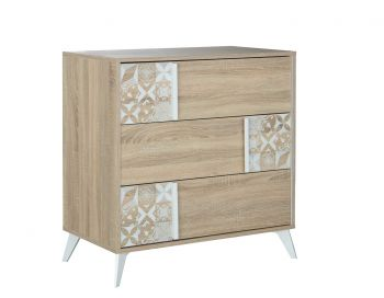 RANGEMENT NUIT - CHLOE 3-drawer chest Sonoma oak