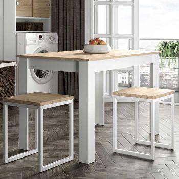 Schöner Esstisch 110 cm - weiß/Eiche