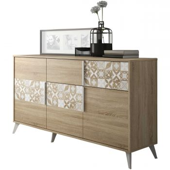 RANGEMENT JOUR - CHLOE sideboard with 3 doors and 1 drawer Sonoma oak