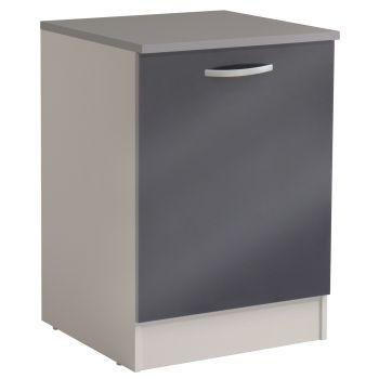 Basiseinheit Löffel 60 cm mit Tür - glänzend grau