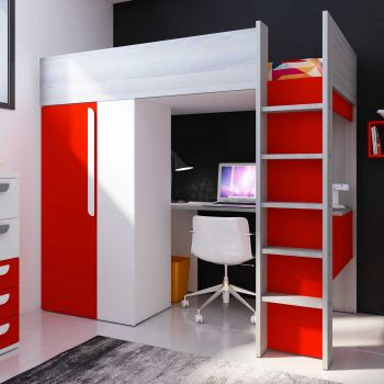 BO9 High Sleeper bed 200 cm Red