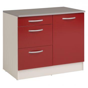 Unterschrank Eko 100 cm für Spüle mit 3 Schubladen und Tür - rot