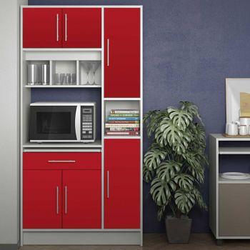 Küchenschrank Louise für Mikrowelle - weiß/rot