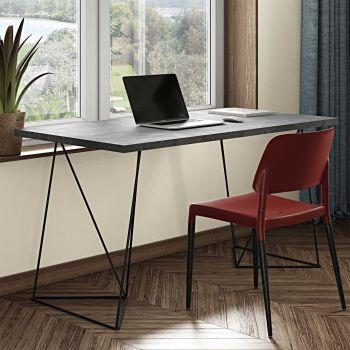 Schreibtisch Flo - Beton/schwarze Beine