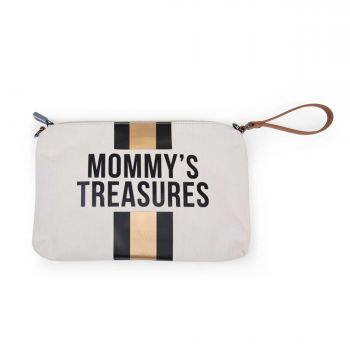 Mommy Clutch Canvas Off White Stripes Black/Gold