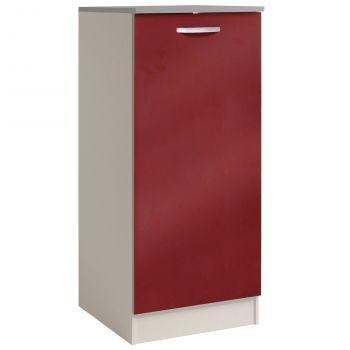 Küchenschrank Löffel H140 cm mit Tür - glänzend rot