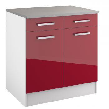 Basiseinheit Eli mit 2 Schubladen und 2 Türen - rot