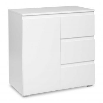Seitenschrank Bild 1 Tür & 3 Schubladen - weiß
